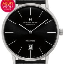Hamilton Intra-Matic pre-owned 42mm Black Date Leather