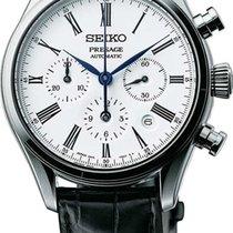 Seiko Presage Automatic Chronograph Black Leather Strap Men's...