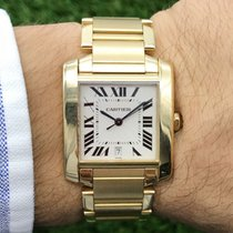 Cartier Tank Française Yellow gold 28mm White