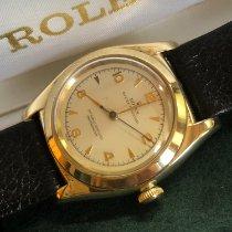 Rolex Bubble Back Żółte złoto 32mm Biały Bez cyfr