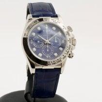 Rolex Daytona Or blanc 40mm Bleu Sans chiffres