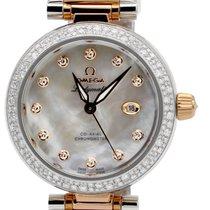 Omega De Ville Ladymatic 34MM Diamond White Pearl Dial Watch...