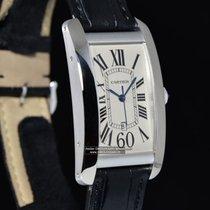 Cartier TANK AMÉRICAINE Modello grande in oro bianco e pelle