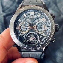TAG Heuer Carrera Heuer-02T pre-owned 45mm Chronograph Tourbillon Crocodile skin