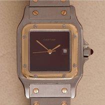 Cartier Santos (submodel) pre-owned 30mm Bordeaux Date Gold/Steel