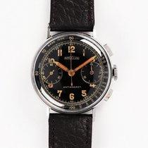 Angelus Stahl 35mm Handaufzug Angelus Chronograph Steel Military 1940s Black Dial gebraucht
