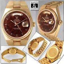 Rolex Oro amarillo Cuarzo Marrón Sin cifras 36mm usados Day-Date Oysterquartz
