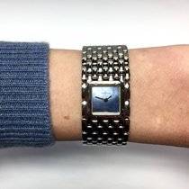 Cartier Steel Ladies Watch W/ Blue Mother Of Pearl Dial &...