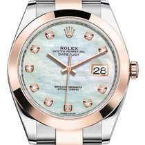 Rolex Datejust Everose Two Tone  Gold MOP Diamond Dial 126301