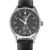 TAG Heuer Carrera Calibre 7 pre-owned 39mm Black Date GMT Leather