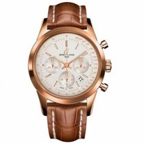 Breitling Transocean Chronograph Rose gold 43mm White No numerals