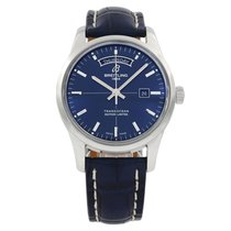 Breitling Transocean Day & Date Steel 43mm Blue No numerals