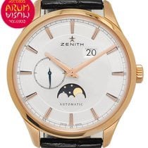 Zenith Captain Moonphase occasion 40mm Argent Phase lunaire Date Cuir