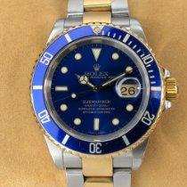 Rolex 40mm Automatik 1999 gebraucht Submariner Date Blau