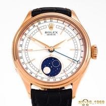 Rolex Cellini Moonphase Or rose 39mm Blanc Sans chiffres