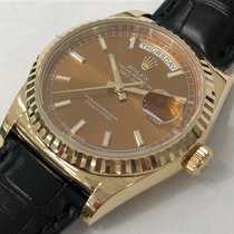Rolex Day-Date Cognac Dial Leather Strap, Ref: 118138