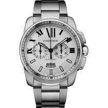 Cartier Calibre de Cartier Chronograph Steel 42mm Silver Roman numerals