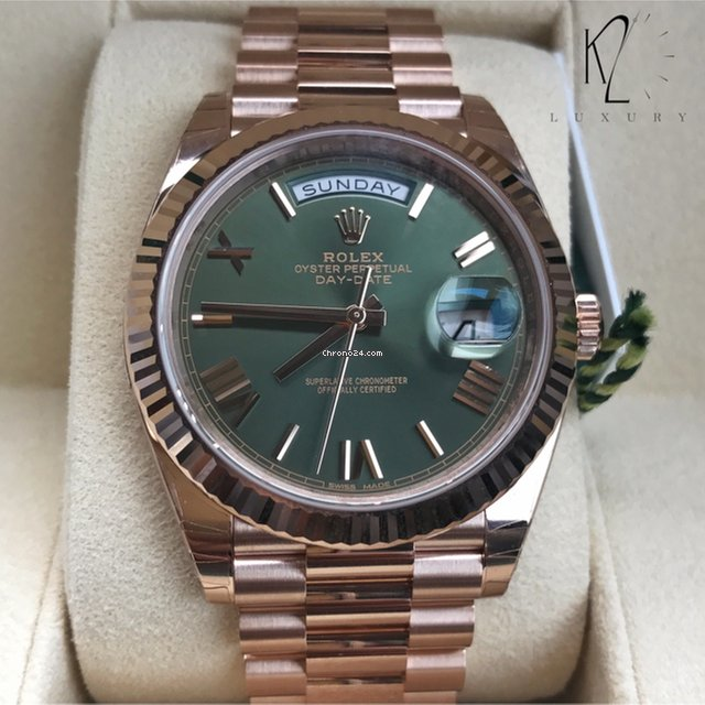 Rolex Day,Date in Rose Gold 40mm with Green Olive Dial