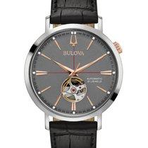 Bulova CLASSIC AUTOMATIC Aerojet Steel Grey Dial Leather 41m...
