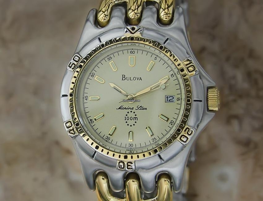7e3b6de2f24 Bulova Marine Star 100m Swiss Made 36MM Mens Gold Plated... for  792 for  sale from a Trusted Seller on Chrono24