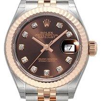 Rolex Lady-Datejust Or/Acier 28mm Brun Sans chiffres
