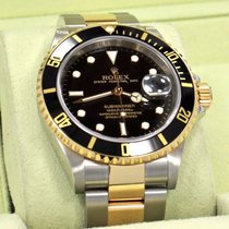 Rolex Submariner 16613ln 18k Yellow Gold /steel Black Bezel...