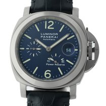 Panerai Luminor Power Reserve pre-owned 44mm Blue Date Crocodile skin