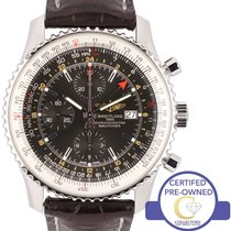 百年灵  MINT Breitling Navitimer World GMT Stainless Black 46mm...