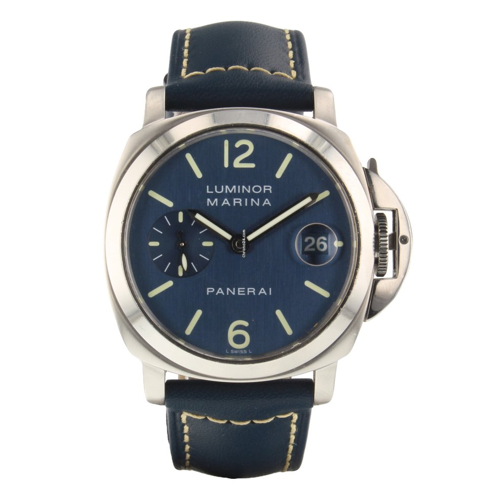 half off 1f1a3 2d2ba Panerai Luminor Marina 40 mm Automatic Blue Steel Watch PAM00119 PAM 119  Mint