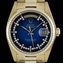 Rolex 18k Y/G Blue Vignette String Diamond Dial Day-Date...