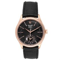 Rolex Cellini Dual Time Rose gold 39mm Black