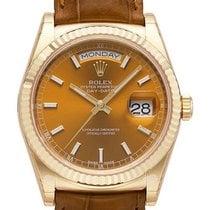 Rolex Day-Date 36 18 kt Gelbgold Leder 118138 Cognac