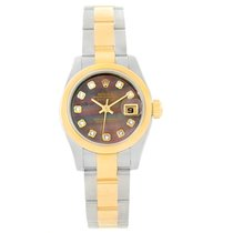 Rolex Datejust Ladies Steel Yellow Gold Mop Diamond Watch 179163
