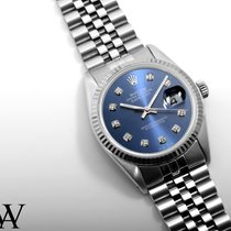 Rolex SS 36mm DATEJUST Custom Electric Blue Diamond Quickset...