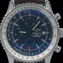 Breitling Navitimer 46mm World GMT Blue Dial Brown Leather...