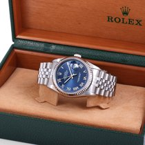 Rolex 2005 Steel DATEJUST Factory Blue Roman Dial w/ Original Box
