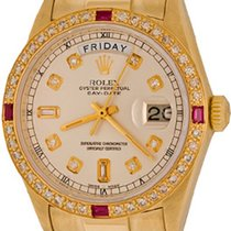 Rolex Day-Date 36 Or jaune 35mm Argent Sans chiffres