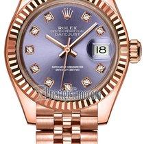 Rolex Lady Datejust 28mm Everose Gold 279175 Aubergine Diamond...