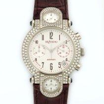 DeLaneau White Gold 3-Time Zone Diamond Chronograph Watch