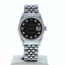 Rolex Datejust pre-owned 36mm Black Date Steel