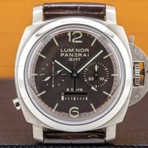沛納海 Luminor 1950 8 Days Chrono Monopulsante GMT 44mm 棕色 阿拉伯數字