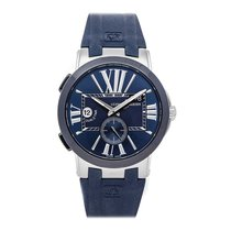 Ulysse Nardin Steel Automatic Blue Roman numerals 43mm pre-owned Executive Dual Time