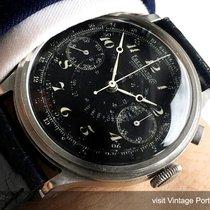 Breguet 40mm black Enamel dial Vintage Eberhard Chronograph