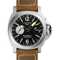 Panerai Luminor GMT Automatic Acciaio 44mm BRN Leather Watch...