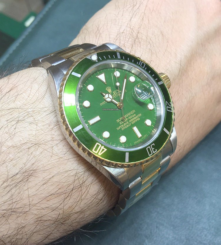 Rolex Submariner Two Tone Watch Green Color Dial \u0026 Green