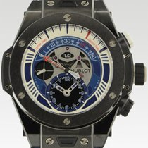 Hublot Big Bang Unico gebraucht 45mm Blau Chronograph Krokodilleder