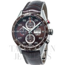 TAG Heuer Carrera Calibre 16 pre-owned 44mm Brown Chronograph Date Tachymeter Fold clasp