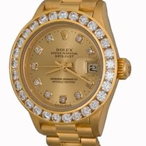 Rolex Yellow gold Automatic Champagne No numerals 25mm pre-owned Lady-Datejust