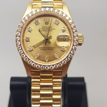 Rolex Or jaune Remontage automatique Champagne Sans chiffres 26mm occasion Lady-Datejust