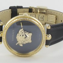 Versace Steel 34MMmm Quartz VECQ008 18 Versace Palazzo Empire Diamond Gold Black 34MM new